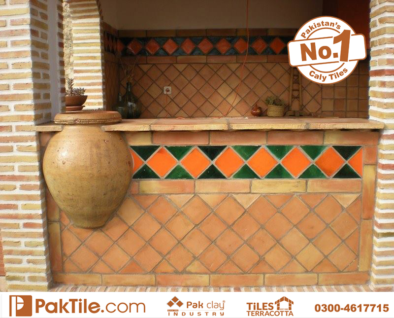 Cheap terracotta antique glazed borders waterproof wall roof and floor tile tow glazed colors green and organge factory stores lahore pakistan images