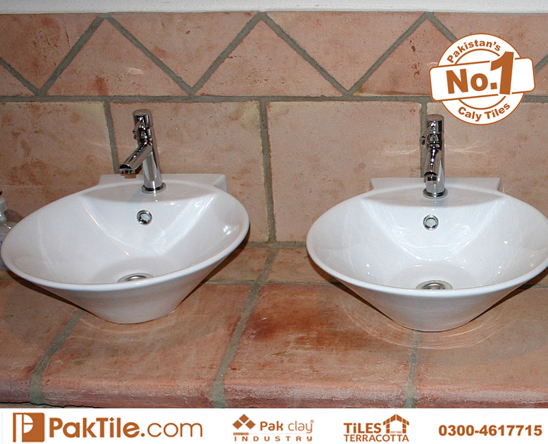 Pak clay Terracotta brick antique bathroom vanities around red clay bricks waterproof wall and floor tiles cheap rate store lahore rawalpindi pakistan images
