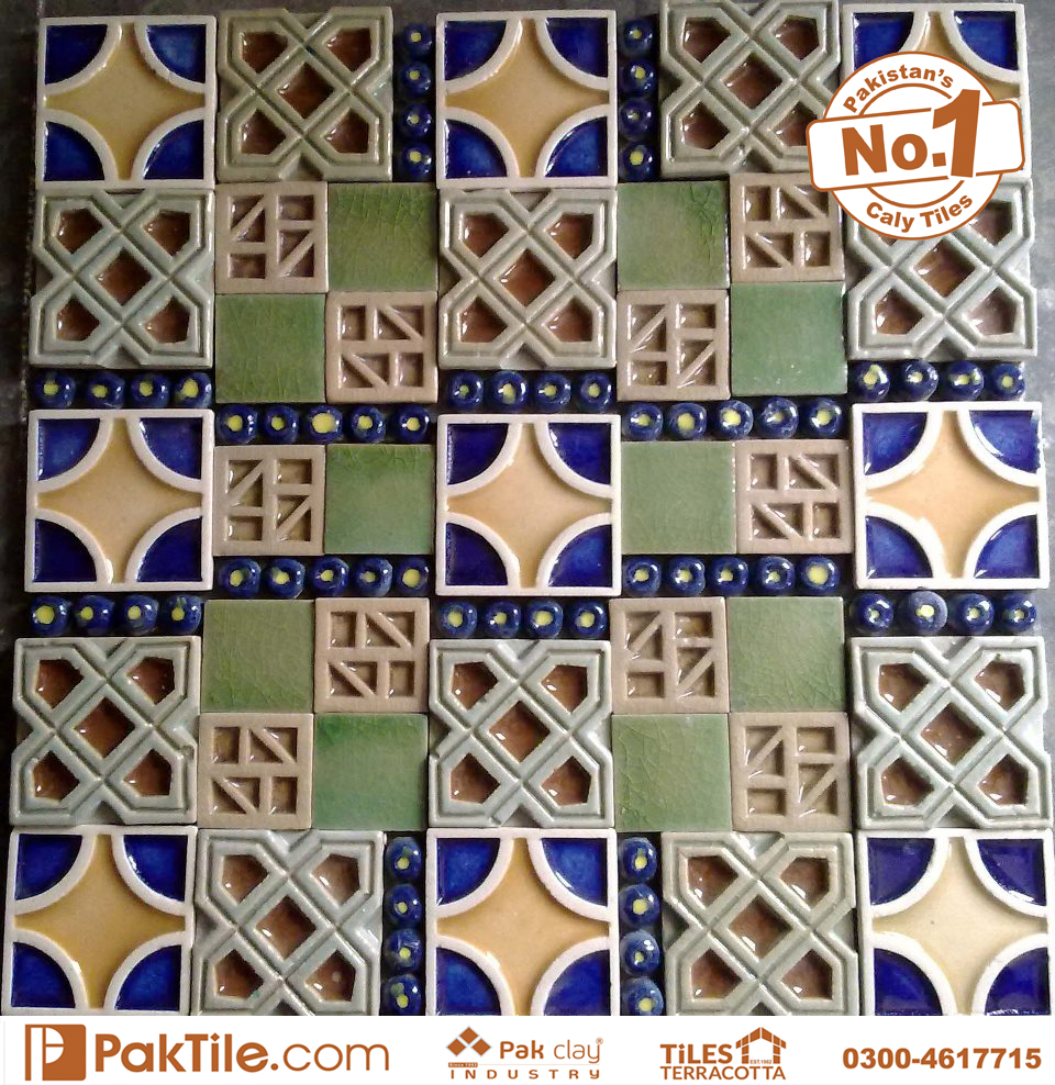 Pak Clay Green Blue Colourful Face Handmade Ceramic Mosaic Wall Tile Pattern Factory Store in Lahore Islamabad Gujranwala Pakistan Images