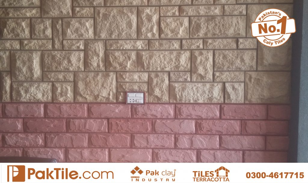 Beautiful two colours red and cream concrete wall face tiles pakistan