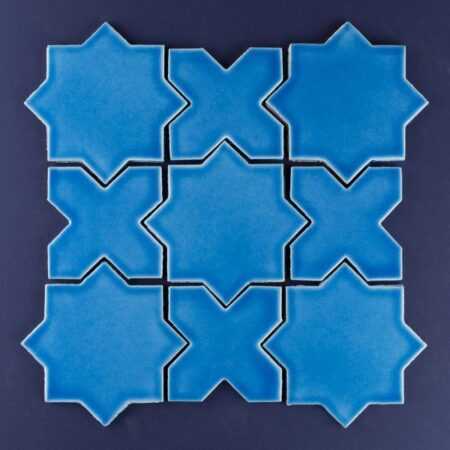 Bright Blue Pattern Bathroom Wall Multani Tiles Designs in Faisalabad