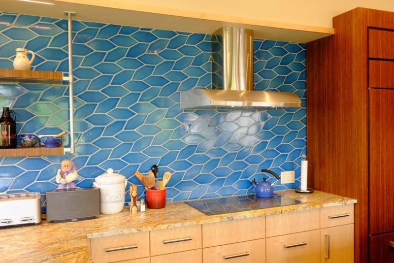 Bright Blue Patterned Kitchen Wall Multani Tiles Designs in Karachi