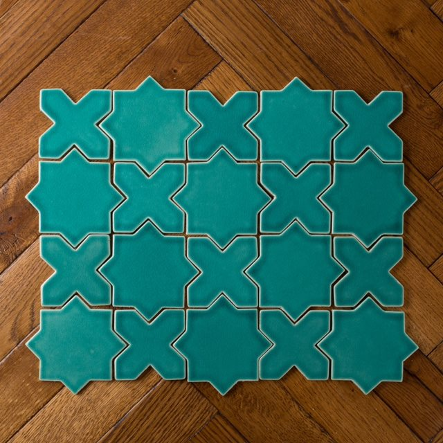 Star and cross ceramic glazed mosaic turquoise blue floor tiles
