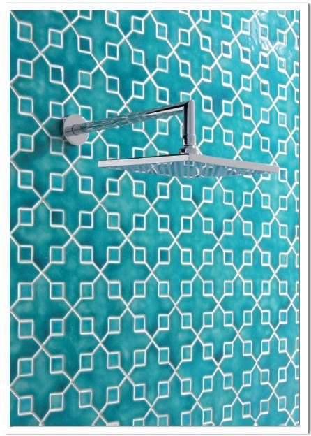 Star and cross ceramic glazed mosaic turquoise blue wall tiles