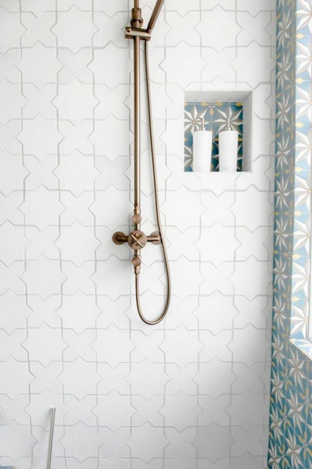 Star and cross ceramic glazed mosaic white bathroom wall tiles