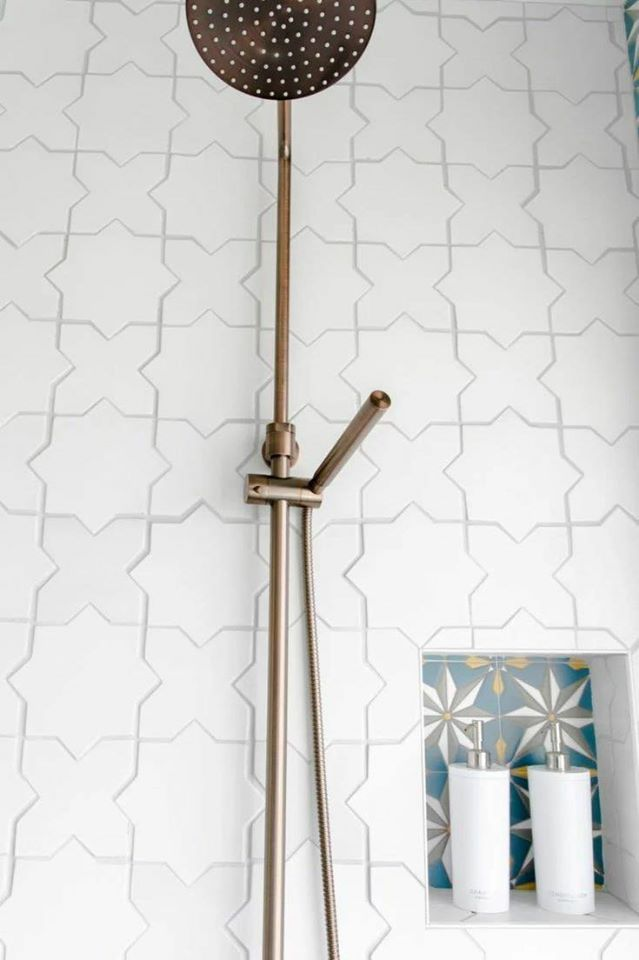 Star and cross ceramic glazed mosaic white washroom wall tiles