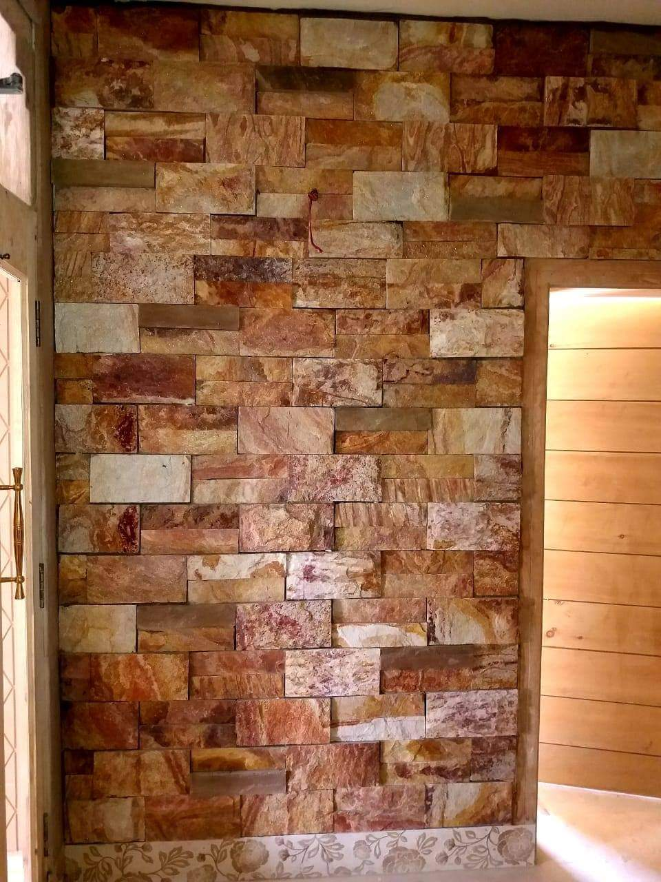 chisel stone wall tiles golden col