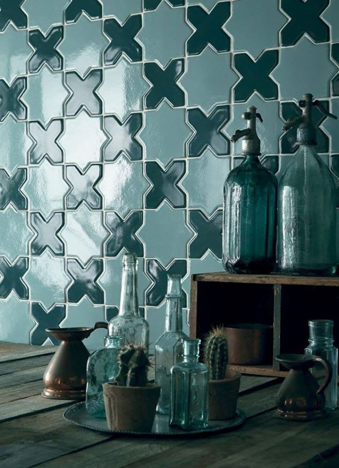 Star and cross ceramic mosaic blue wall tile design