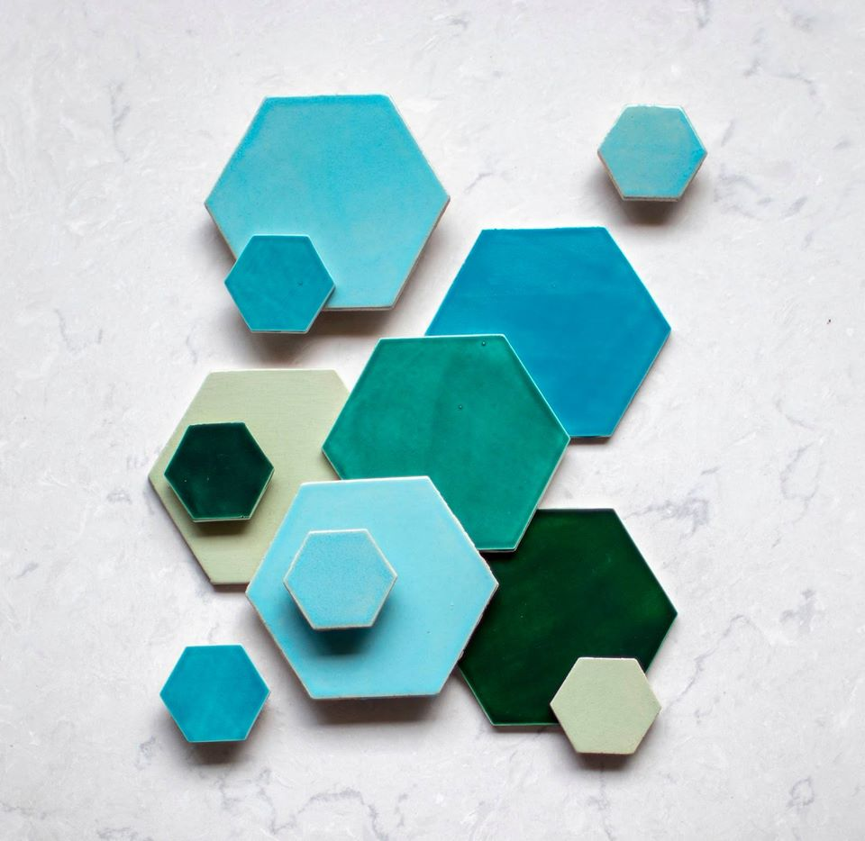 4 Hexagon Glazed Different Colors Kitchen Floor Tiles