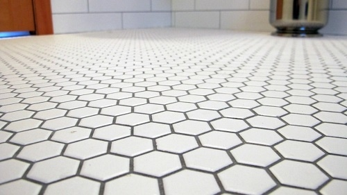 4 Pure White Color Glazed Ceramic Mosaic Floor Tiles