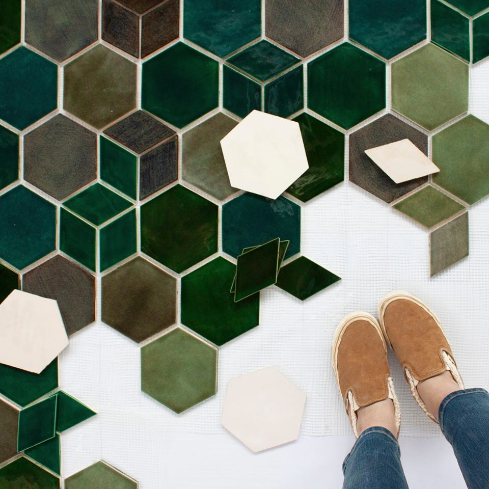 5 Hexagon Glazed Kitchen Floor Tiles Design Color Green