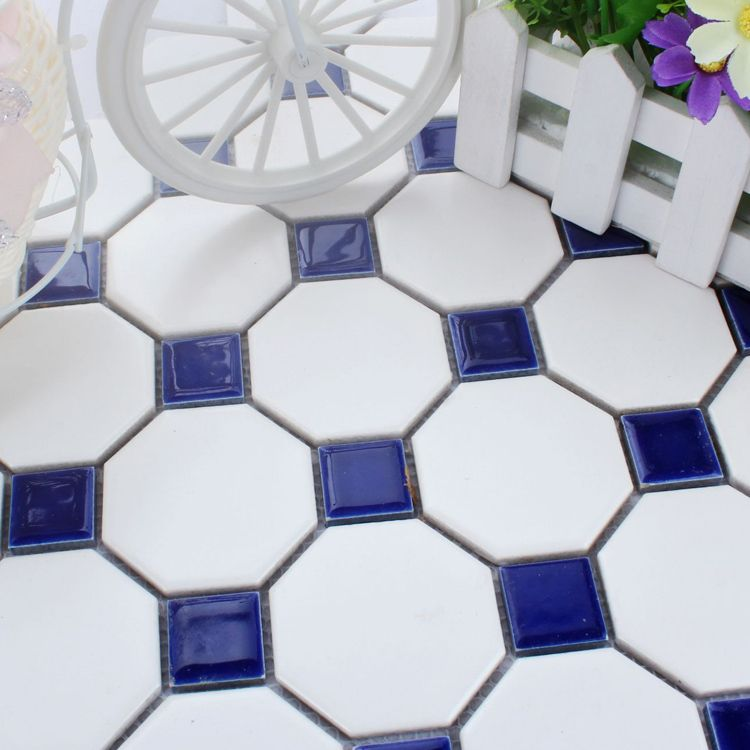 6 Cobalt Blue Octagon Ceramic Glazed Floor Tiles