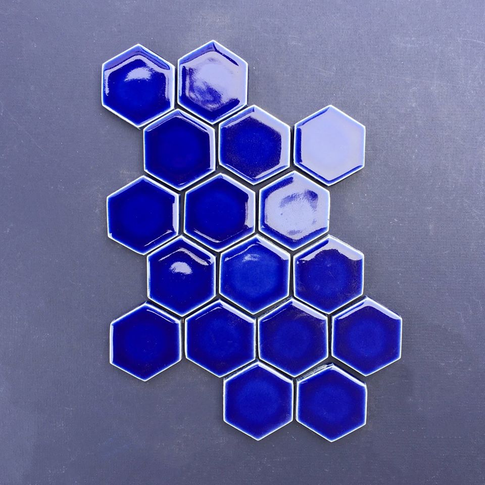 6 Hexagon Shape Blue Multani Glazed Bathroom Wall Tiles