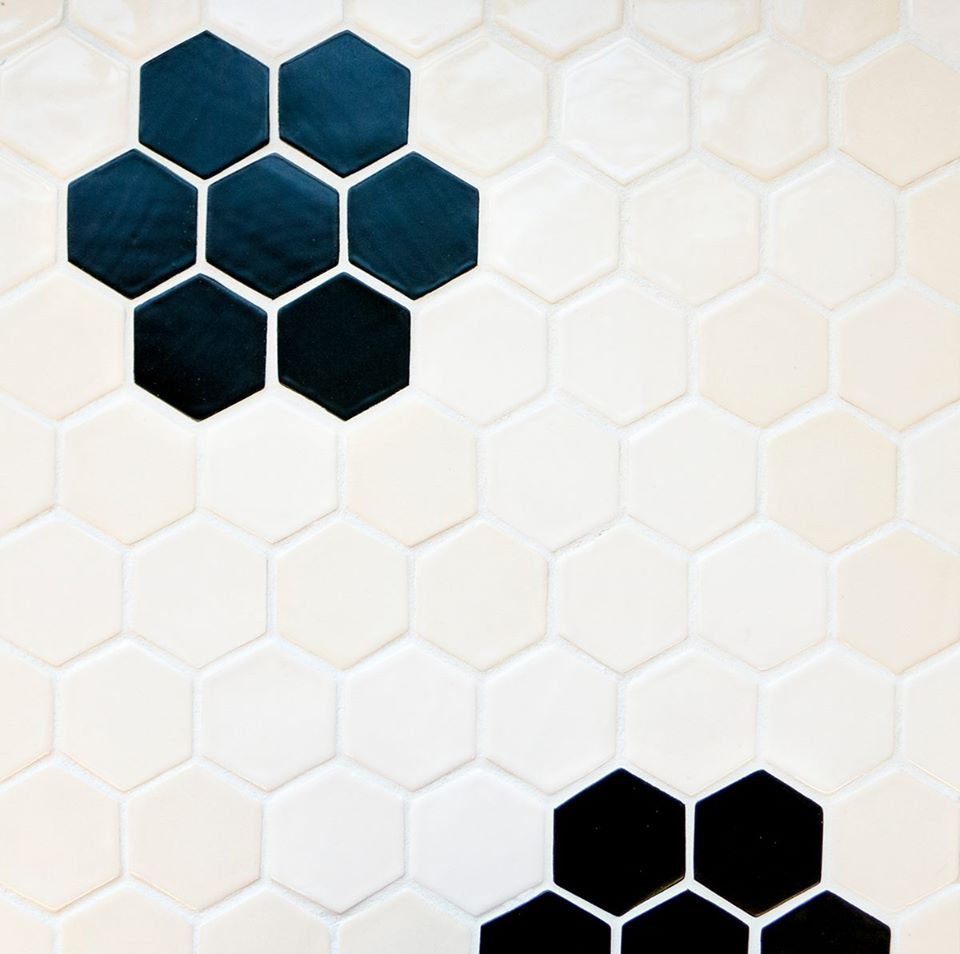 6 Hexagon Shape Glazed Colors White and Blue Kitchen Floor Tiles