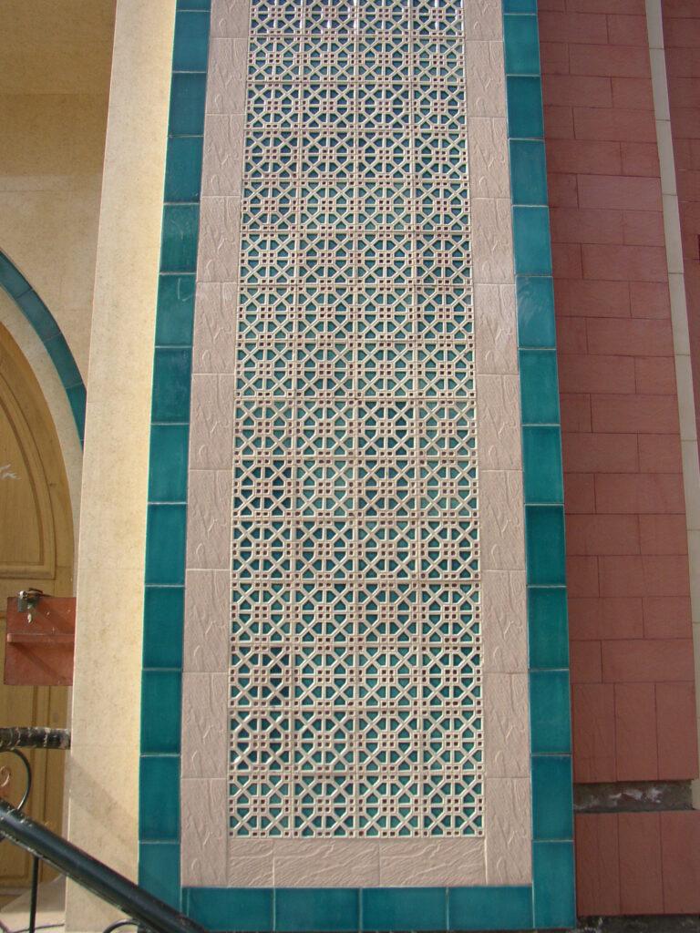 31 House Outside Wall Glazed Ceramic Mosaic Blue Multani Tiles Pattern in Pakistan