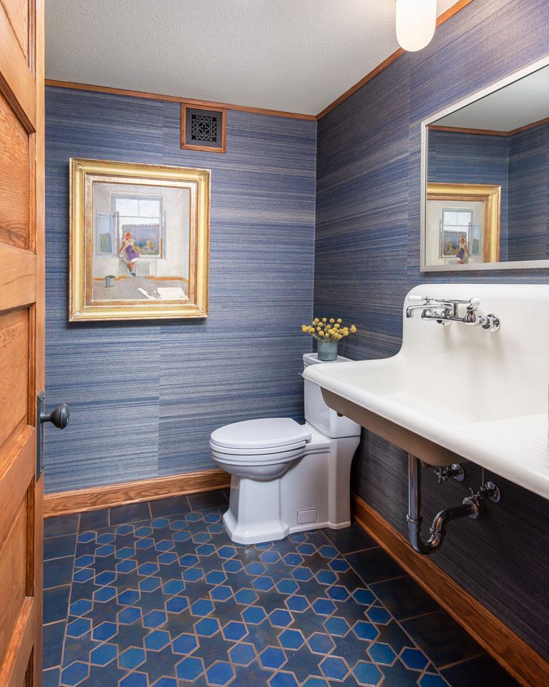 4 Glazed Blue Multani Tiles For Washroom Floors