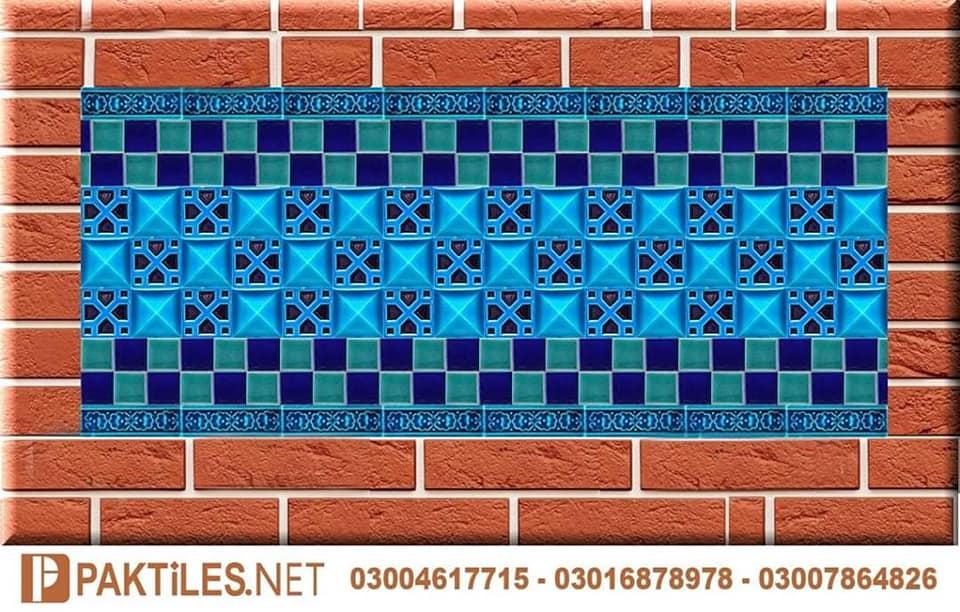 5 Pak clay mosaic multani tiles blue pottery art work pakistan