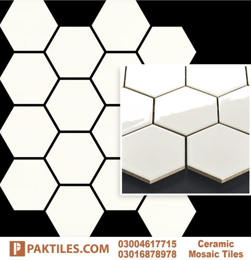 White Glazed Glossy Shine Hexagon Mosaic Outdoor Wall Tiles